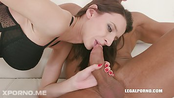 Pauline Cooper is having a threesome with a black and a white guy and getting doublefucked