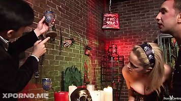Sasha Rose and her kinky lovers are fucking in the dungeon, in the middle of the night