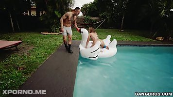 Charley Hart is riding a rock hard dick in the swimming pool and enjoying it a lot