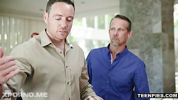 Avi Love is about to fuck three guys at the same time, after a poker game