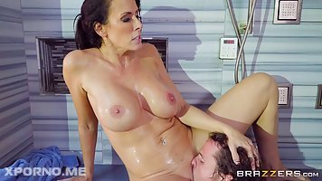 Madison Ivy is having a relaxing shower and casual sex with her sons' handsome friend
