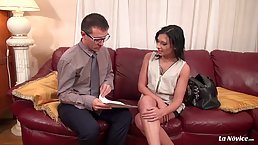 After a hard working day French brunette Amel Annoga is fucking her boss on the couch