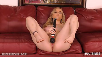 Horny curvy blonde girl River Fox is having some fun time riding her boy's cock