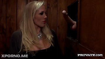 Cock loving milf, Rebecca Moore got fucked, by a horny priest, in the confessional room